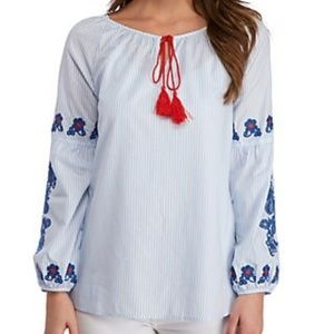 Romeo & Juliet Couture Embroidered Striped Blouse